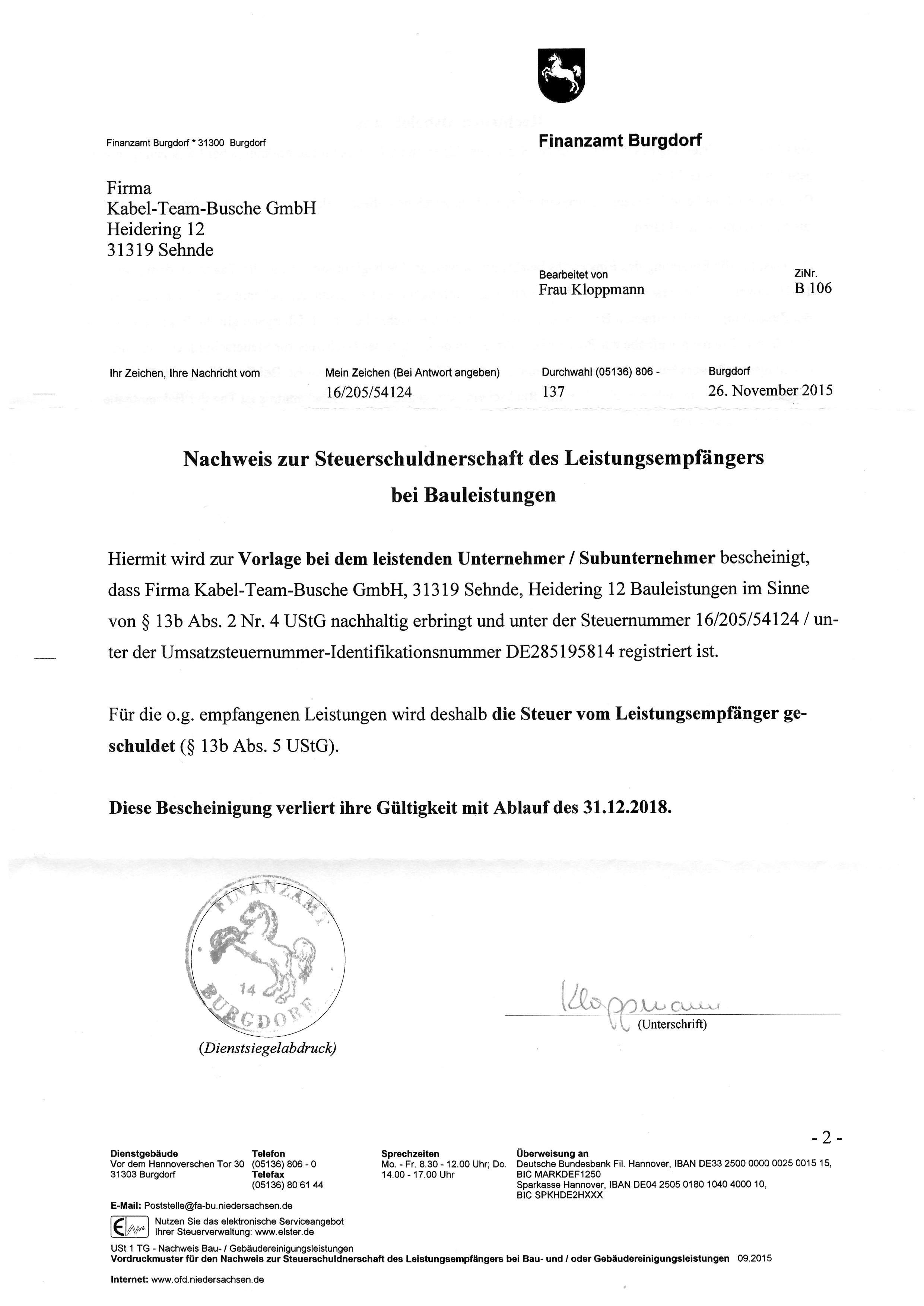 Freistellungsbescheinigung Bauleistungen bis 31.12.18
